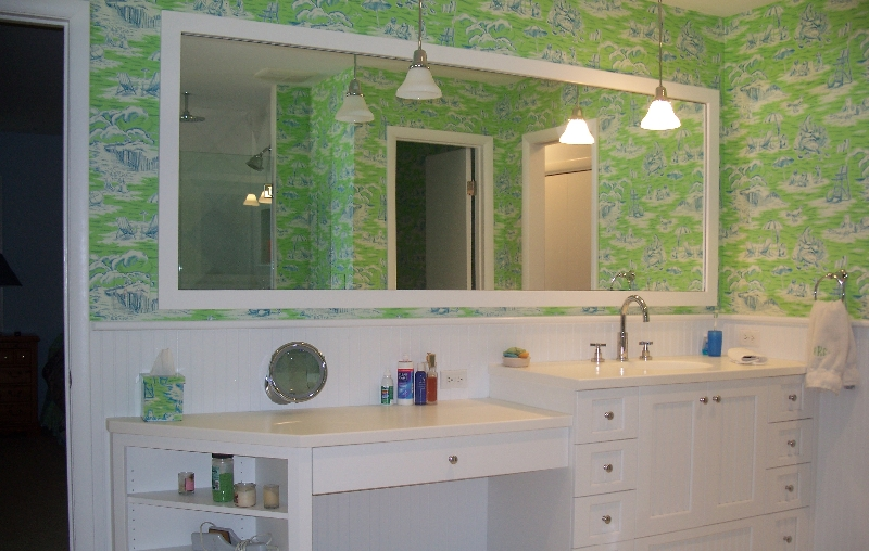 Custom White Bath Storage