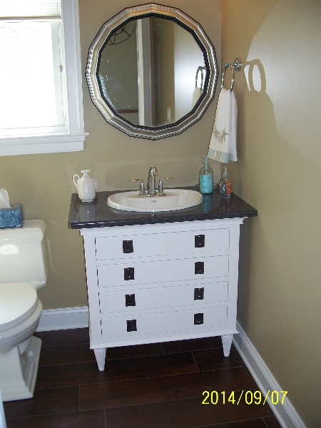 Custom Small White Wood Bath Sink Cabinets