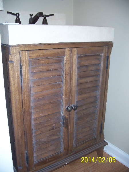 Custom Rustic Wood Bath Cabinetry