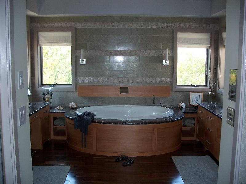 Custom Wood Bathroom Storage and Tub