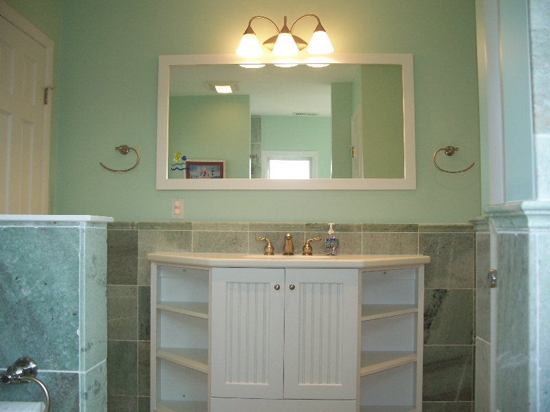 Custom White Wood Bathroom Storage