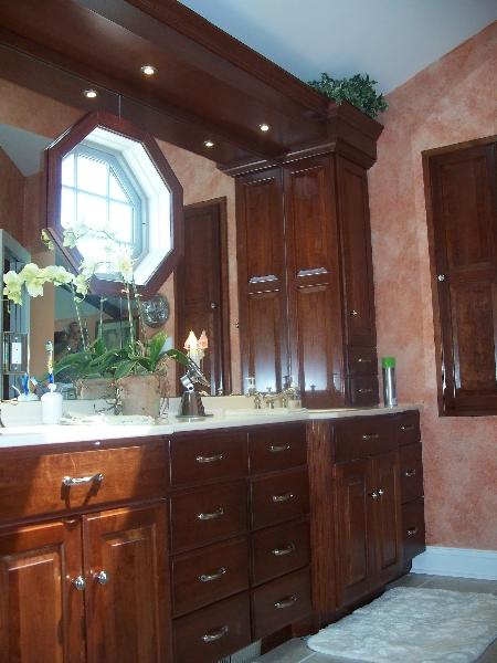 Custom Dark Wood Bathroom Cabinets