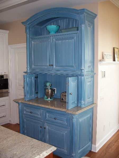 Custom Blue Kitchen Cabinets & Storage