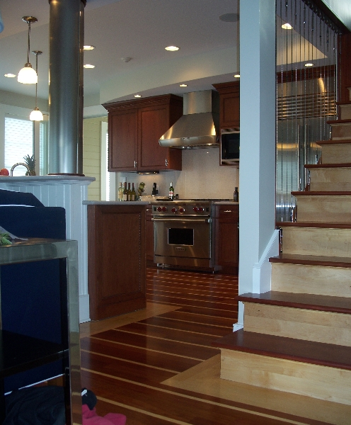 Custom Wood Kitchen Cabinets and Stairs