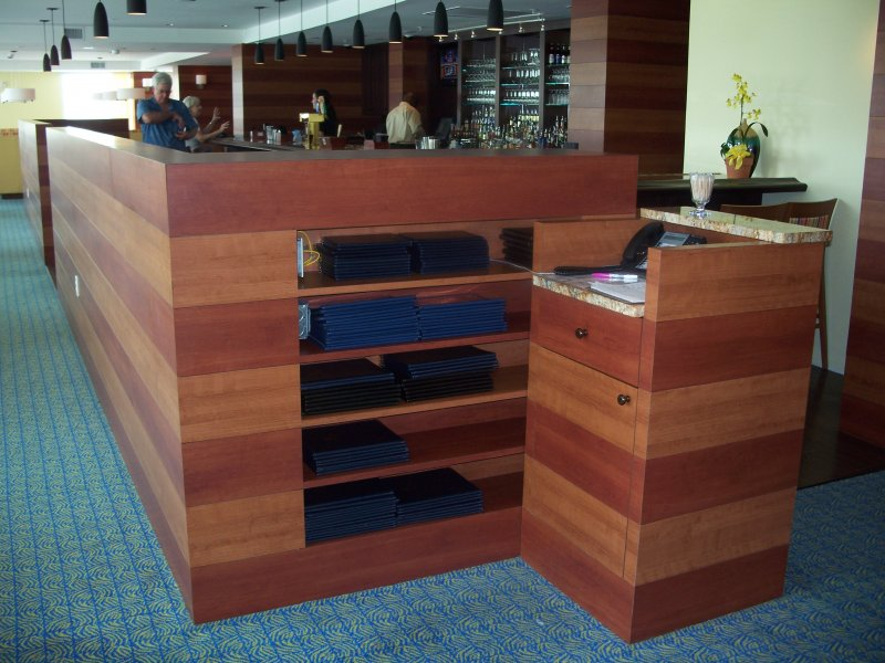 Custom Wood Commercial Hostess Stand, Wall, and Built In Shelves