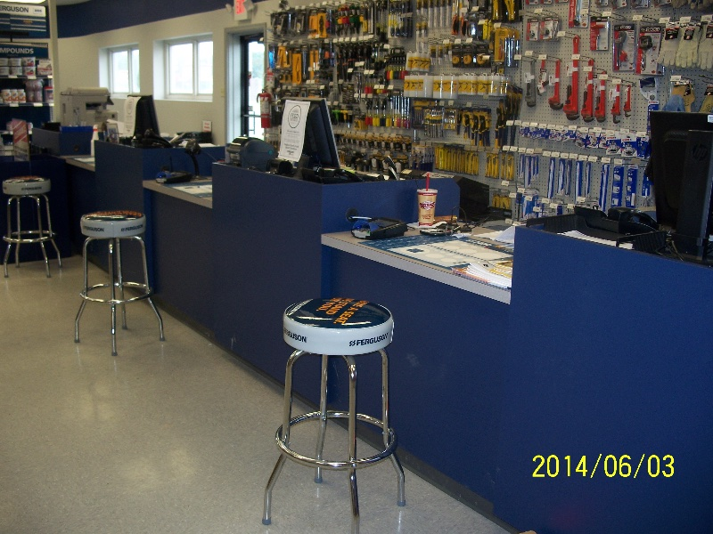 Custom Blue Retail Store Checkout Counter